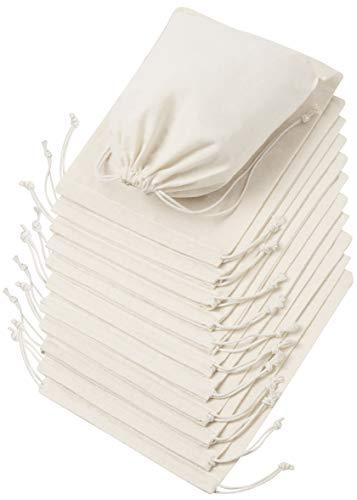 DR 100 Prozent Baumwolle Beutel Mit Kordelzug, Stoffsack Mit Band Zum Zuziehen - Organisch Und Natürlich - (20x25, Weiss)