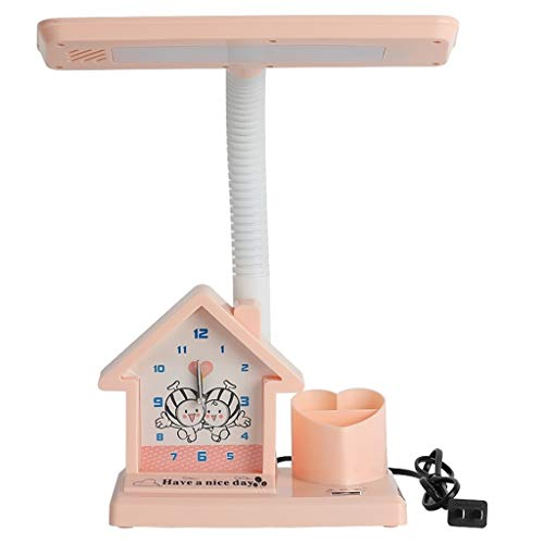 Lámpara de Escritorio Led Protección for los ojos de los niños de dibujos animados de escritorio La lámpara de alarma de reloj titular de la pluma de múltiples funciones del botón de lámpara de mesa d