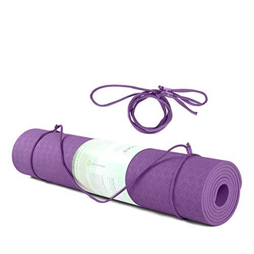 Cómodo de usar TPE Yoga Mat, alfombra antideslizante con línea de posición para ejercicio, alfombra de gimnasia de fitness para principiantes para sala de estar, ejercicios de interior y camping. Adec