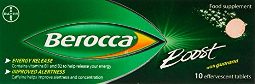 Berocca Boost Effervescent Tablets with Guarana, Caffeine and Vitamin B12, Also Contains Vitamin C and Magnesium, 1 Pack of 10