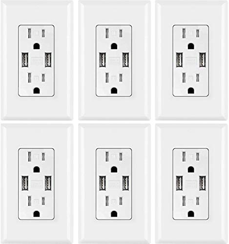 USB Outlet, High Speed Charger 4.2A Charging Capability, Child Proof Safety Duplex Receptacle 15...