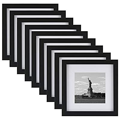 ONE WALL Tempered Glass 9 PCS 8x8 Picture Frame with Mats for 5x5, 4x4 Photo, Black Wood Frame for Wall and Tabletop - Mounting Hardware Included