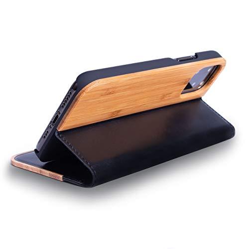 WOLA Klapphülle für iPhone 12 Mini Holz Hülle Forrest Holzhülle Hülle Bambus