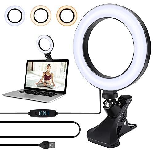 Opard Ringlicht Dimmbar Videokonferenz licht mit Clip, 6.1'/15.5cm LED Ringleuchte, Ringlicht Laptop mit USB für Fernarbeit, Fernunterricht und Selfie Portrait YouTube...