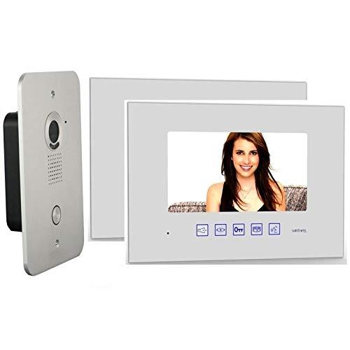 2 Draht Video Türsprechanlage Gegensprechanlage – 2x 7 Zoll Monitor