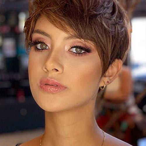 PHOCAS Short Pixie Human Hair Wig With Side Bangs Straight Short Cut Pixie None Lace Wig for Women,Dark Chestnut Brown