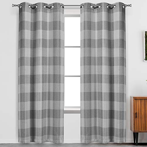"""Blackout 365 Aaron Checkered Set Buffalo Plaid Blackout Bedroom-Insulated and Energy Efficient Rod Pocket Window Curtains for Living Room, 37"""" W x 84"""" L, Grey"""