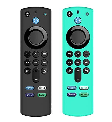 AIYAAIYA 2 PCS Schutzhülle für Alexa Sprachfernbedienung (3rd Gen) (2021 Release), Stoßfeste Silikonhülle für Fire TV Stick 4K 2021 Fernbedienung mit Anti-Verlust-Seil (Eisblau+Schwarz)