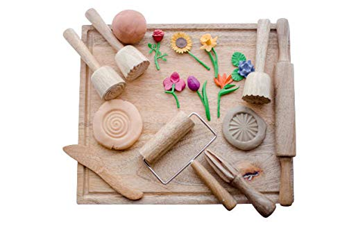 KOOKAROO Dough & Modeling Clay Montessori Toy Set: Fun Sensory Play with 7 Wooden Tools + 1 Wooden Board for Toddlers & Preschool Kids, Promotes Cognitive Growth, Motor Skills, Dough Not Included