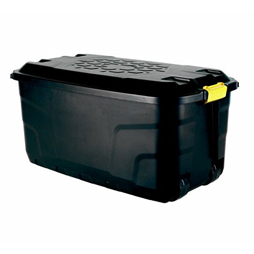 Strata Extra Large Plastic Mobile Heavy Duty Storage Garden Trunk Wheeled Tool Box 145 Litre