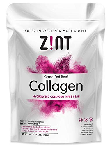 Zint Collagen Peptides Powder (32 oz): Paleo-Friendly, Keto-Certified, Grass-Fed Hydrolyzed Collagen Protein Supplement - Unflavored, Non GMO