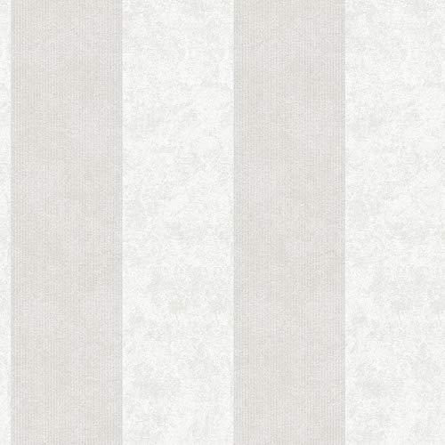 Vliestapete Tapete Streifen Getsreifte Tapeten 953732 95373-2 Innova Memory 3   Beige/Crème Silber   Rolle (10,05 x 0,53 m) = 5,33 m²