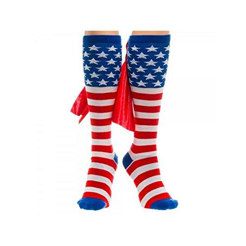 Super Hero American Flag Knee High Cape Socks By Superheroes
