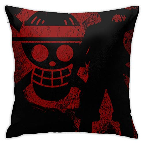 NiYoung Zipper Luxury Throw Pillow Protector Square Polyester Pillow Cases for Bedding Couch Chair Wedding - 18x18 inch, Soft Breathable Japanese Anime One-Piece Monkey-D-Luffy Pillowcase