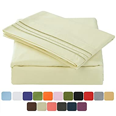 TasteLife 105 GSM Deep Pocket Bed Sheet Set Brushed Hypoallergenic Microfiber 1800 Bedding Sheets Wrinkle, Fade, Stain Resistant - 4 Piece(Ivory,Queen)