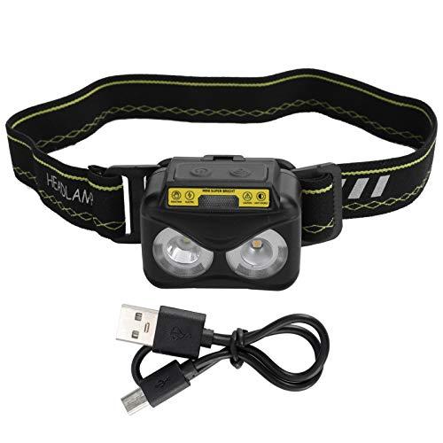 WANZSC Faro más Brillante XPG + COB USB Carga por inducción Humana Luz de Senderismo Impermeable al Aire Libre, Faro USB Faros Delanteros