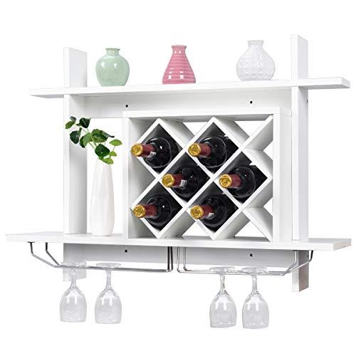 RELAX4LIFE Weinregal Holz, Flaschenregal mit Weinglashalter, Weinständer für 6 Weinflaschen, Schweberegal für Esszimmer & Küche & Wohnzimmer & Kaffeestube, Hängeregal Wandmontage platzsparend, weiß