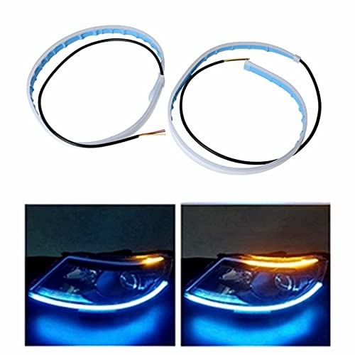 2 Pieces 24 Inches DRL LED Light Strip Flexible Daytime Running Lights Dual Color White-Amber Fit for Any 12V Cars