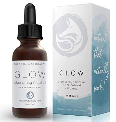 Foxbrim Naturals Blue Tansy Facial Oil - Balancing and Toning Face Oil Serum - With Squalane, Carrot Oil, Vitamin E, Jasmine, Chamomile - Anti Aging - Build Collagen, Fight Acne and Reduce Redness - 1 oz