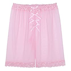 Mens light pink bloomers with loose fit.