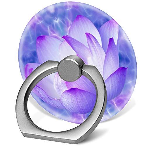 360度フィンガースタンド 携帯電話リングホルダー フック付きカーマウント スマートフォン用 パープル 蓮の花とフラクタルクリスタル