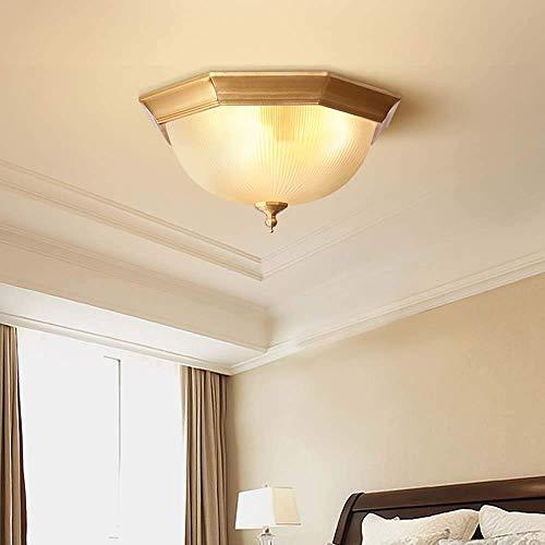 YANQING Duurzame Alle Koper Slaapkamer Plafond Licht Beige Circulaire Balkon Aisle Led Moderne Minimalistische Europese Land Koper Lamp 38 * 38 * 19cm Verlichten Leven