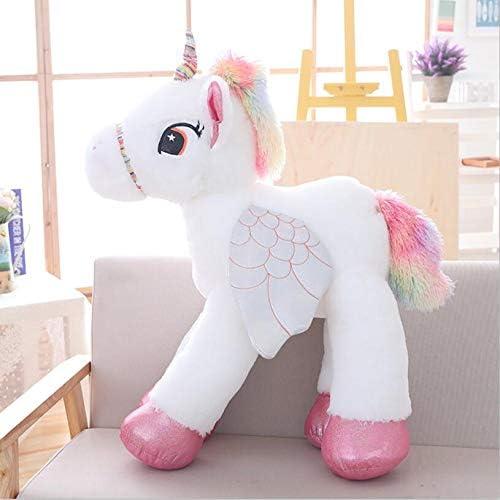 Moonyue Grand 50 60   90cm Peluche Licorne Jouets Peluches Animaux Jouets pour Enfants Doux Poupée Home Decor Ahommet Cadeau d'anniversaire Blanc 90 cm