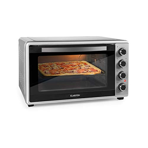 Klarstein MasterChef 45 Mini Oven - 45L, 2000W, Temperature: 100-230°C, Rotisserie, Circulating Air Function, Timer, Double Glass Door, Top and Bottom Heat, Interior Lighting, Stainless Steel, Silver