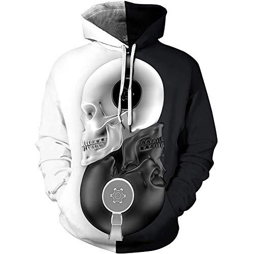 Zaima Felpe Unisex di Halloween Nero Bianco Teschio 3D Stampa Pullover Donna Uomo Felpe con Cappuccio Larghe Felpe Tascabili S-5Xl