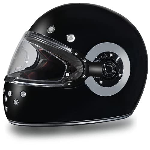 Daytona Helmets Motorcycle Full Face Helmet Retro- Hi-Gloss Black W/Chrome Accents 100% DOT Approved