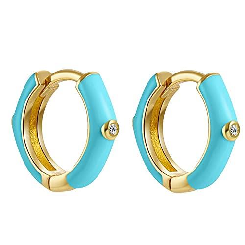Pendientes Aros Aretes Mujer Plata de Ley 925 Mls Azul Turquesa Neon 12 mm Cierre Clip Piercings Circulo