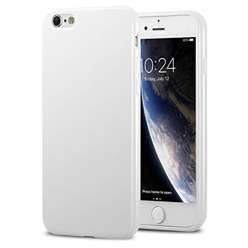TENOC Phone Case Compatible for Apple iPhone 6S and iPhone 6 4.7 Inch, Slim Fit Cases Soft TPU Bumper Protective Cover, Glossy White