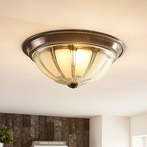 Lindby LED Deckenlampe dimmbar im Antik Stil   LED Deckenleuchte Glas Metall   warmweiß 3.000 K   inkl. LED Leuchtmittel A+ fest verbaut   LED Deckenleuchte Esszimmer, Wohnzimmer, Küche