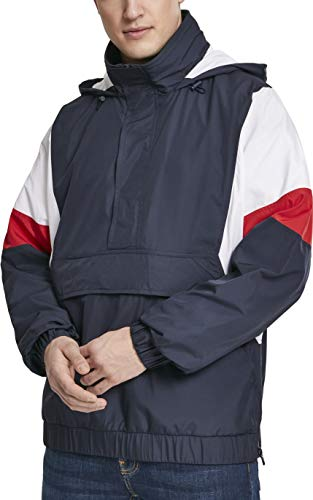 Urban Classics Herren Jacke Light 3-Tone Pull Over Jacket, Mehrfarbig (Navy/White/Fire Red 01243), Small (Herstellergröße: S)