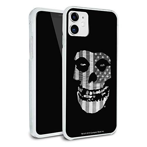 Misfits Gray American Flag Fiend Skull Logo Protective Slim Fit Hybrid Rubber Bumper Case Fits Apple iPhone 8, 8 Plus, X, 11, 11 Pro,11 Pro Max