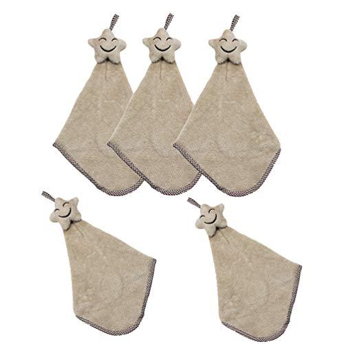 Lurrose 5 stuks hangende handdoek schattige ster fleece handdoeken voor kinderen thuis (groen) Größe 1 beige