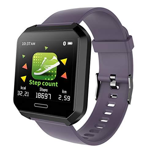 Fitness Tracker Gesundheits Fitness Smartwatch Wasserdicht IP68 Fitness Armband mit Pulsmesser Farbbildschirm Aktivitätstracker Pulsuhren Schrittzaehler Uhr (Lila)
