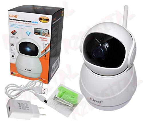 r2digital - Cámara IP panorámica Linq IPC-200 W HD IPCAM inalámbrica antipérdida, nocturna de infrarrojos con WiFi motorizada red LAN micro SD