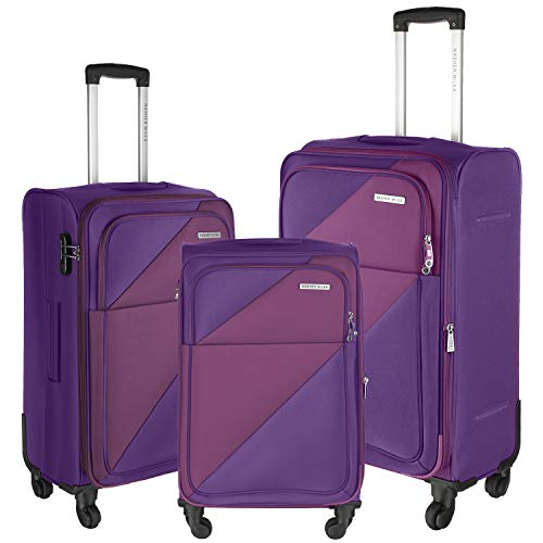 Nasher Miles Texas 20, 24, 28 Inch ,Set of 3, Expander, Soft-Sided, Polyester Luggage, Purple 55, 65 and 75 cm Trolley Bag