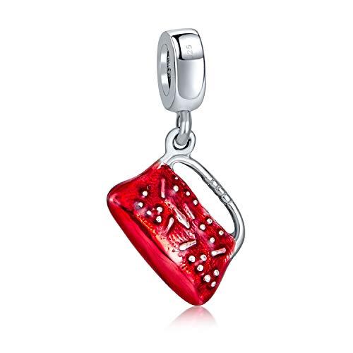 Colgante rojo Clutch Bolso pocketbook Bolso de mano Charm Bead para mujeres para adolescentes 925 Sterling Silver Fits European Bracelet