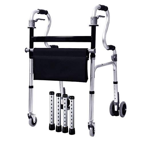 Multifunción Ligero 5.4Kg Plegable Adultos Mayores Rollator Walking Fram Aid 4 Ruedas | Aleación De Aluminio |Con Asiento, Frenos Bloqueables |Altura Regulable 86-93Cm |Carga Máxima 180Kg