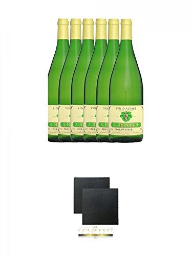 Antoine Heinrich Elsässer Edelzwicker AC 2009 Frankreich 6 x 1,0 Liter + Schiefer Glasuntersetzer eckig ca. 9,5 cm Ø 2 Stück