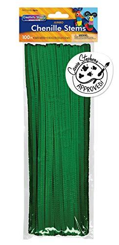 "Creativity Street Jumbo Stems, Dark Green, 12"" x 6 mm, 100 Pieces"