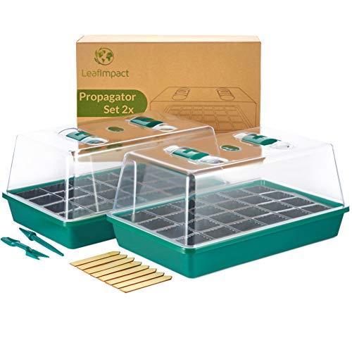 LeafImpact 2er-Pack Mini Gewächshaus | Komplett-Set Indoor für 48 Pflanzen | Zimmergewächshaus zur Anzucht im Zimmer | Anzucht Gewächshaus Klein Fensterbank | Anzuchtkasten für Pflanzen & Gemüse