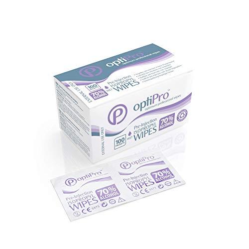 OptiPro Toallitas de Isopropilo con Preinyección de Alcohol al 70% – Toallitas Fáciles de Utilizar Envueltas Individualmente para Limpiar la Piel (Paquete de 100)