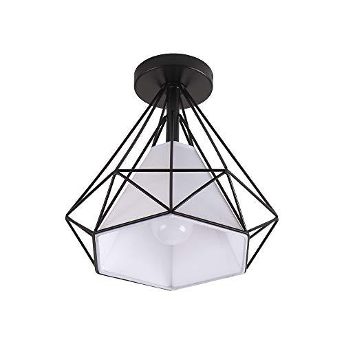 BYX Modern Diamond Design Metal E27 Luces de techo Pasillo negro Pasillo Bar Cocina Lámpara de techo montada en la superficie Negro…