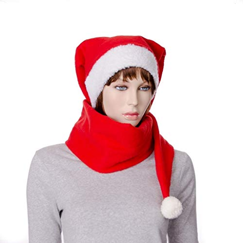 Stocking Cap Red Extra Long Pompom White Sherpa Scarf Hat