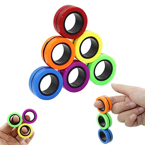 FunnyMe-Decompression-Magnetic-Rings-Fidget-Toys-Professional-Fidget-Spinner-Stress-Relief-Rings-Props-Colorful-Training-Relieves-Reducer-Autism-Anxiety-Finger-Therapy-Stress-Toys-6-Pcs-Set
