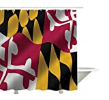 JoneAJ Flagge des US-B&esstaates Maryland Close Up Bild Winken American National Image Duschvorhang 3D-Druck Wasserdicht beschichtetes Bad aus Polyestergewebe mit 12 Haken 71 Zoll