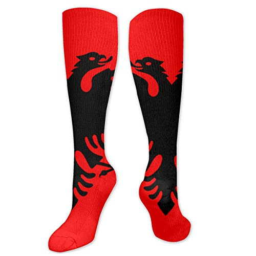 Flag of Albania Cushion Crew Socken Workout Training Wandern Walking Athletic Sportsocken für Damen und Herren Trainer Low Cut Socken